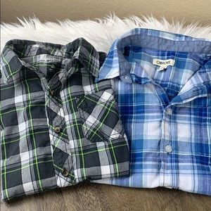 SET: 2 Plaid Button-ups Boys 12/14